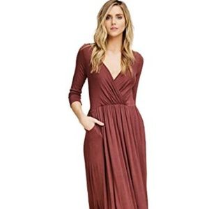 MAGASCHONI BROWN MODAL WRAP Belted DRESS CHAIN 6